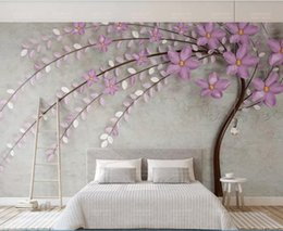 $enCountryForm.capitalKeyWord Australia - 3d wallpaper custom photo mural Purple one tree flower Nordic elegant 3d stereo TV background wall home decor wall art pictures