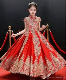 Wholesale gone girl online – design Customized Pretty Red Satin Applique Beads Little Girl s Pageant Dresses Gold Lace Flower Girl Dresses Long Kids Princess Party Go