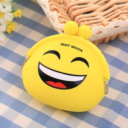 Silica Pouches Australia - Emoji Smile Silica Gel Yellow Coin Purse Pouch Case Bags Mini Storage Box Hobos Data Cable Storage Holders Case Container Zipper