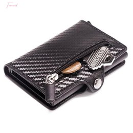 carbon card holder UK - Minimalist Aluminum Wallet Credit Card Holder Rfid Blocking Slim Carbon Fiber Leather Wallet Metal Card Case Coin Pocket Purse