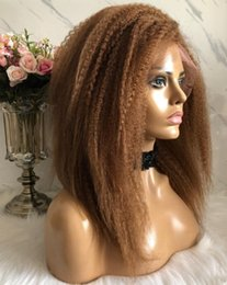 celebrity hairs NZ - Celebrity Wig Lace Front Wig Kinky Straight Blonde Color #30 10A Brazilian Remy Human Hair Full Lace Wig for Black Women Free shipping