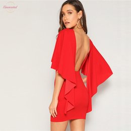 fitted open back dresses NZ - Sexy Open Back Cloak Sleeve Summer Mini Dress Women Glamorous Round Neck Slim Fit Solid Above Knee Mini Night Out Party Dress