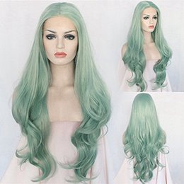 Wavy hair perm online shopping - MAHAZEL long wavy cm in green hair lace front wig for woman density can permed stock