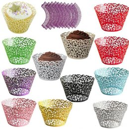 Cut Lace Cupcake Australia - Cupcake Wrappers Cup Cake Wrapper Cartridge Lace Laser cut Cake Paper Cup Cupcake Wrapper Wedding Party Cake baking Cup holder