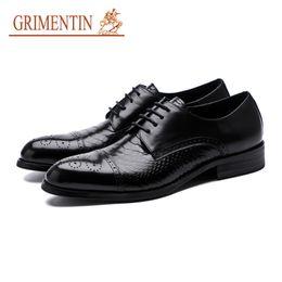 Italian Formal Shoes Australia - GRIMENTIN Hot sale Italian fashion mens dress shoes 2019 new snake skin grain man oxford shoes genuine leather formal business male shoes