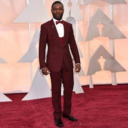 $enCountryForm.capitalKeyWord Australia - 2019 men slim fit Red Carpet Burgundy Mens Tuxedos One Button Shawl Trim Formal Coat and Pants 3 Pieces suit tailor made suit men