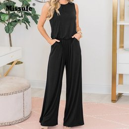 Overalls Jumpsuits For Women Australia - Missufe New Solid Summer Women Jumpsuit Pocket Tunic Long Playsuit Female Slim Office Ladies Rompers Casual Overalls For Women