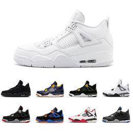 best sneakers b2e66 a1fda Date 4s Hommes Chaussures De Basket-ball Pure Money Premium Chat Noir  ciment blanc Bred Fire rouge Peur Alternative Chaussures De Sport baskets  eur 41-47