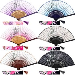Woman Fans Australia - Silk Folding Fans Bamboo Hand Held Grassflowers Chinese Japanese Fan with 2 Fabric Sleeves for Protection, Gift for Women and Girls