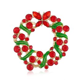 Red Leather Dresses Australia - Christmas wreath diamond drop red brooch pin suit evening dress sweater decoration