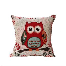 Chinese  Embroidered Owl Cartoon Jacquard Linen Cotton Sofa Bed Cushion Cover Throw Pillow Case without pillow Car Home Decoration Supplies manufacturers