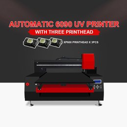 3 cabeçote de impressão de Alta Velocidade de Impressão de Grande Formato uv impressora 6090 UV (60 * 90 cm) Impressora de mesa Para caixa de telefone de Metal de madeira