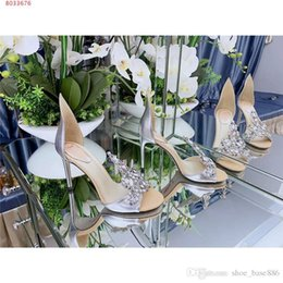Wedding Dress Authentic NZ - Women Wedding dress shoes Sexy crystal decoration Sexy crystal decoration High Heels in Authentic Leather Size 34-41