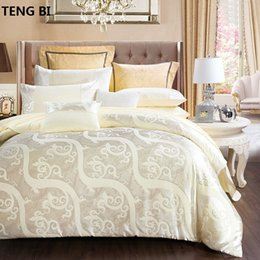 $enCountryForm.capitalKeyWord Australia - 100%CottonLuxury Silk Bedding Set Embroidery Bed Linens Tencel Satin Sheet Jacquard Bedclothes Queen King Size cover