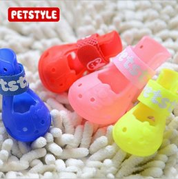 Shoe Sandal Female Australia - 4pcs set Dog Shoes Fashion Pets Colorful Lovely Jelly Pvc Boot For Animals Boots Silicone Summer Sandals Soft And Comfortable Candy Shoes