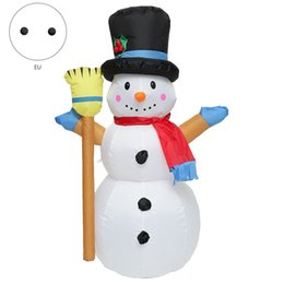 christmas decorations led snowman UK - 1.2M Christmas Snowman Colorful Rotate LED Light Inflatable Model Snowman Doll Broom Cover Christmas Decoration with Fan