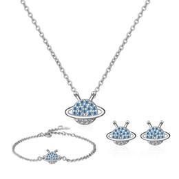 planet earrings Australia - Fashion 925 Silver Blue Zircon Cute Small Planet Jewelry Sets For Girls Women Simple Star Bracelet Necklace Earring Gift Jewelry