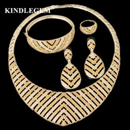 $enCountryForm.capitalKeyWord Australia - wholesale Fashion Indian African Beads Jewelry Set Luxury Parure Bijoux Femme Dubai Gold Silver Necklace Sets For Women Bridal