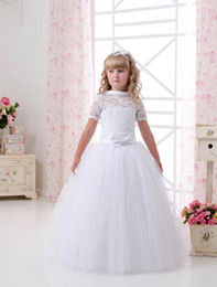 cheap child princess dresses NZ - 2020 Cheap Short sleeve Lace And Tulle Flower Girl Dresses For Wedding White Ball Gown Princess Girls Pageant Gowns Children Communion Dress