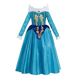 Beauty dress clothes online shopping - 2019 Girls Princess Dresses Straps Lace Flower Sleeping Beauty Cosplay Costume Child Christmas Party Clothes RZ8922