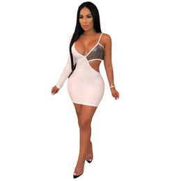 Wholesale summer ladies club clothes resale online – Dresses Spaghetti Satrap Sexy Hollow Out Summer Dress Rhinestone Ladies Night Club Clothes Womens Designer Pencil