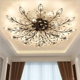 black nickel switches Australia - Modern K9 Crystal LED Flush Mount Ceiling Chandelier Lights Fixture Gold Black Home Lamps for Living Room Bedroom Kitchen
