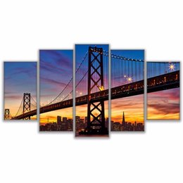 paintings bridges UK - 5 Panel San Francisco Oakland Bay Bridge Modern Pictures Wall Art Home Decoration Canvas Painting Pictures