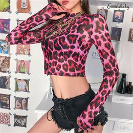$enCountryForm.capitalKeyWord Australia - Summer Long Sleeve Mesh Top Women Transparent Leopard Print T Shirt Clubwear Ladies Sexy Cropped Tops T-Shirts Women Sexy Tee W3