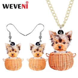 $enCountryForm.capitalKeyWord Australia - WEVENI Acrylic Sweet Basket Tiny Yorkshire Terrier Dog Necklace Earrings Jewelry Sets Teen Fashion Accessory Charm Gift Party
