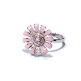 $enCountryForm.capitalKeyWord UK - 2019 Popular Open-end S925 Sterling Silver with Lovely Spin Pink Sun Flower Rotating Ring for Women JZR305