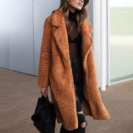 overcoat camel Canada - Belle Poque Autumn Winter Camel Shaggy Warm Female Coat Streetwear Plus Size Elegant Women Faux Fur Coat Office Fur Overcoat