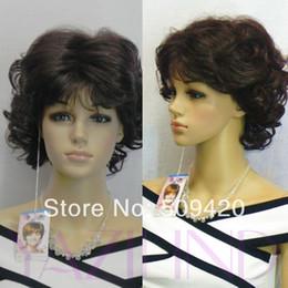 $enCountryForm.capitalKeyWord Australia - Free Shipping>>>Elegant lady wavy curly short medium BROWN natural looking full hair wig Girl Perruque Peruca Miss hair Ladys WI