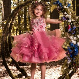 Girls Party Cupcakes Australia - Lovely Fuchsia Girls Pageant Dresses Princess A Line Cupcake Ruffles Short Kids Prom Party Gowns Flower Girls Dress for Wedding