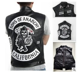 rock costumes Australia - 4 Styles Sons Of Anarchy Embroidery Leather Rock Punk Vest Cosplay Costume Black Color Motorcycle Sleeveless JacketMX190923