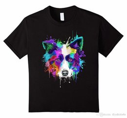 Custom Print T Shirt Cheap Australia - Cheap Custom T Shirt Printing Fashion Splash Art Border Collie Men's T-Shirt Puppy Lover Gift Men's O-Neck Short Funny T Shirt