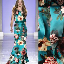 $enCountryForm.capitalKeyWord Australia - 118CM Wide 19MM 93% Silk & 7% Spandex Floral Print Stretch Green Blue Silk Satin Fabric for Summer Dress Clothes Cheongsam D1068