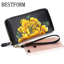 $enCountryForm.capitalKeyWord Australia - 100% leather wallet New Peony hand-painted organ wallet ladies long multi-card position Leather large-capacity