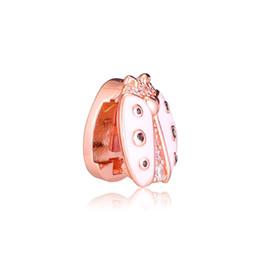 25be1a1297fd 2019 Primavera 925 Joyería de Plata Esterlina Reflexiones Rosa Mariquita  Clip Charm Beads Adapta Pandora Pulseras Collar Para Las Mujeres DIY Making
