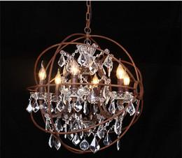 $enCountryForm.capitalKeyWord Australia - Foucault's Orb Clear K9 Crystal Chandelier Rustic Iron Globe Suspension Handing Lamp New Loft Industrial For Living Room B039