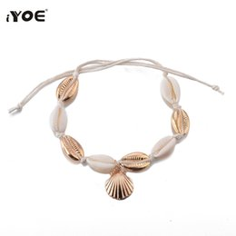 Wholesale IYOE Natural Shell Charm Ankle Thread Bracelets For Women Tassel Bracelet Bohemian Handmade Braid For Summer Holiday Jewelry