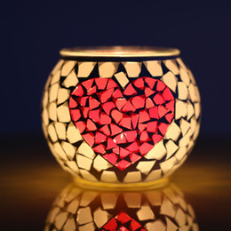 $enCountryForm.capitalKeyWord Australia - Bedroom Scented Candle Holder Valentines Sweet Candlelight Dinner Candle Stick Hotel Room Mosaic Glass Decoration 10 Pieces DHL