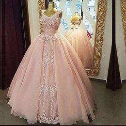 cheap plus size dresses blush pink UK - 2020 Blush Pink Jewel Neck Princess Quinceanera Ball Gowns Sparkly Beaded Lace Appliques Plus Size Cheap Sweet 16 Debutante Dress Gowns