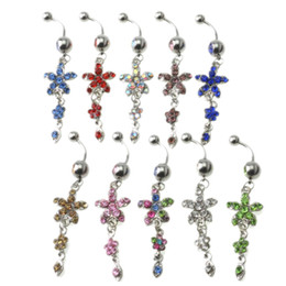$enCountryForm.capitalKeyWord Australia - Free Shipping 10pcs lot Surgical Steel Sexy Piercing Navel Nail Body Jewelry Flower Pendant Crystal Belly Button Rings