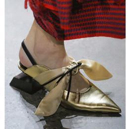 $enCountryForm.capitalKeyWord Australia - Catwalk new shaped blocks asymmetric square with bow tie fashion street beat pointed sandals