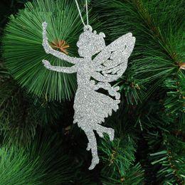 $enCountryForm.capitalKeyWord Australia - Christmas tree decorations supplies Size 14x9cm five colors angel shape xmas ornament Glitter powder Christmas tree pendant 10G