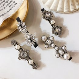 Flower Hair Clip Vintage Australia - New Trendy Hair Accessories Vintage Crystal Flower Simulated Pearl Cross Barrettes Hair Clips Pins Korean Fashion Hairgrips Gift