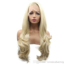 Blonde Resistant Synthetic Fiber Australia - Free Shipping Long Blonde Natural Wave Synthetic Lace Front Wigs Glueless Side Parting Soft Heat Resistant Fiber Hair Long Wigs for Women