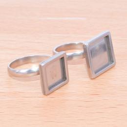 Rings bases online shopping - shukaki antique silver square mm mm mm cabochon ring setting stainless steel adjustable bezel settings diy bases for rings making