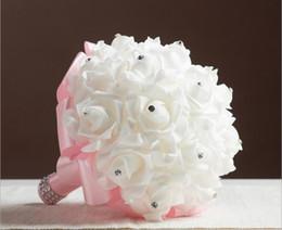 $enCountryForm.capitalKeyWord Australia - Personalized New Wedding Bridal Bouquet PU Ribbon Artifical Roses Flowers Crystals Weddings Bridesmaid Bouquets Party Flowers Ball Christmas