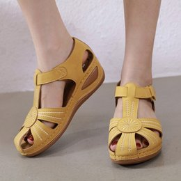 fashion sandals wholesale NZ - shoes women new fashion sandals casual flat Women's Ladies Girls Comfortable Ankle Hollow Round Toe Sandals Soft Sole Shoes